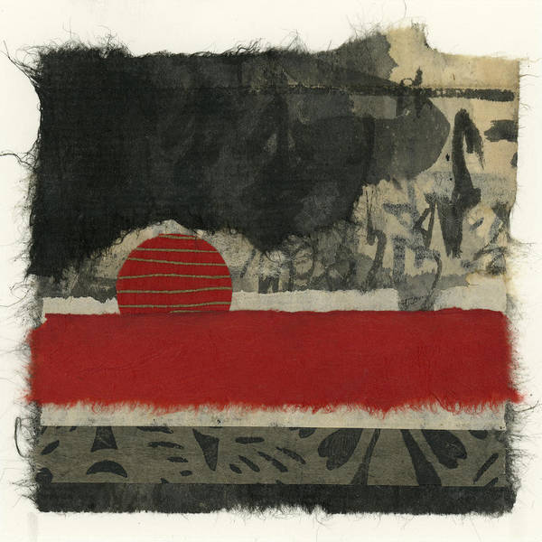 Black Mixed Media - Red Rising Sun by Carol Leigh