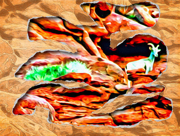 Photograph - Red Rock Goat Ripped by Alice Gipson