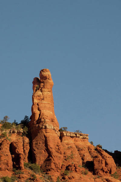 Stoney Photograph - Red Rock Ledge With Rock Profile by Jan and Stoney Edwards