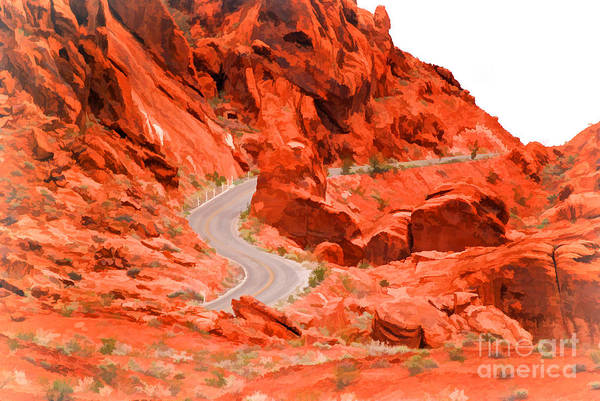 Photograph - Red Rock Mountain Pass - Painterly by Les Palenik