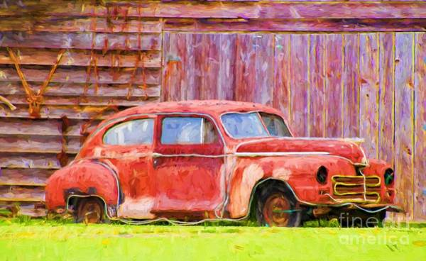 Photograph - Old Red Car by Les Palenik