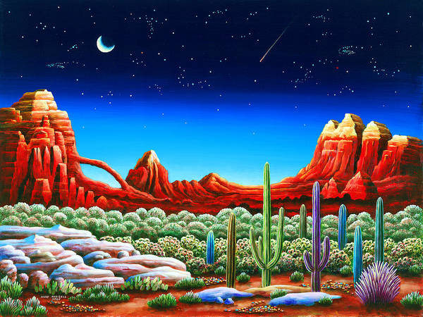 Red Moon Painting - Red Rocks 5 by MGL Meiklejohn Graphics Licensing