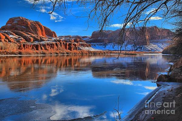 Photograph - Red Rocks Ice And Blue Skies by Adam Jewell
