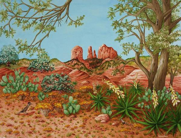 Roadrunner Painting - Landscapes Desert Red Rocks Of Sedona Arizona by Katherine Young-Beck