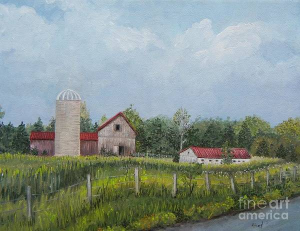 Silo Painting - Red Roof Barns by Reb Frost