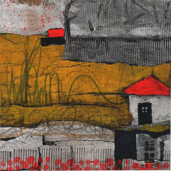 Fence Mixed Media - Red Roof Black Door by Laura  Lein-Svencner