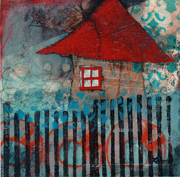 Graphic Mixed Media - Red Roof House by Laura  Lein-Svencner