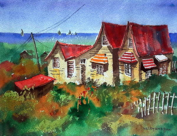 Mixed Media - Red Roofs In Barbados by Val Byrne