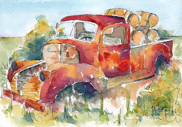 Okanagan Valley Painting - Red Rooster Rust Bucket by Pat Katz