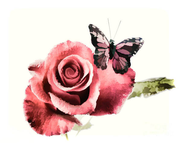 Painting - Red Rose Flower And Butterfly Painting In Color 3184.02 by M K Miller