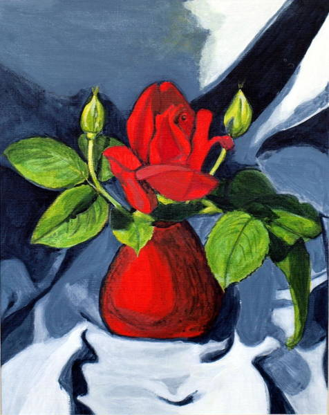 Wall Art - Painting - Red  Rose by Vera Lysenko