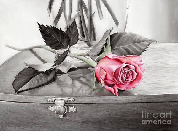 Still-life Painting - Red Rosebud On The Jewelry Box by Hailey E Herrera