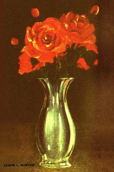 Painting - Red Roses In A Silver Vase by Frank Hunter