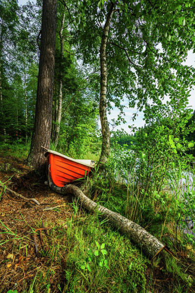 Red Row Boat In The Forest, Hogland Art Print