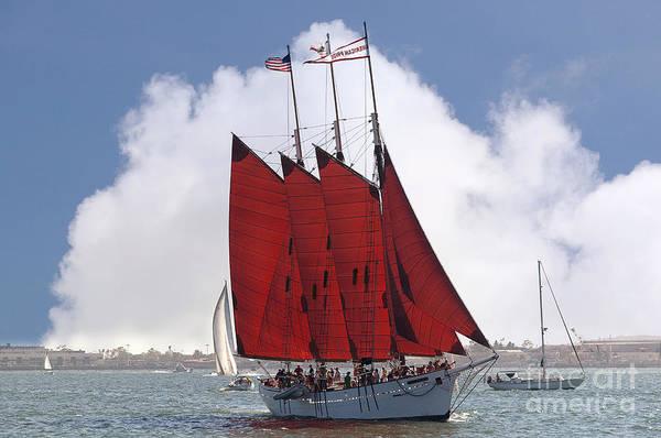 Photograph - Red Sailed Tall Ship by Brenda Kean