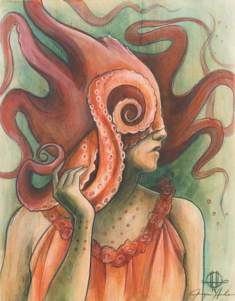Octopus Painting - Red Sash Headdress by Jacque Hudson