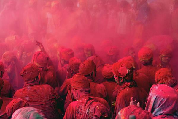 Holi Photograph - Red Sea | Holi At Braj by Akash Bhattacharya
