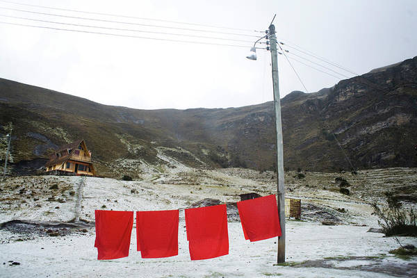 Boyaca Photograph - Red Sheets Hang Outside Of A Lodge by Dennis Drenner