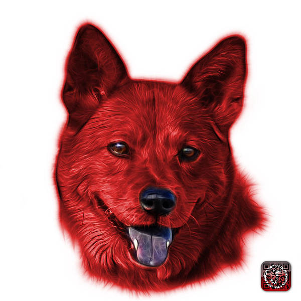 Mixed Media - Red Shiba Inu Dog Art - 8555 - Wb by James Ahn