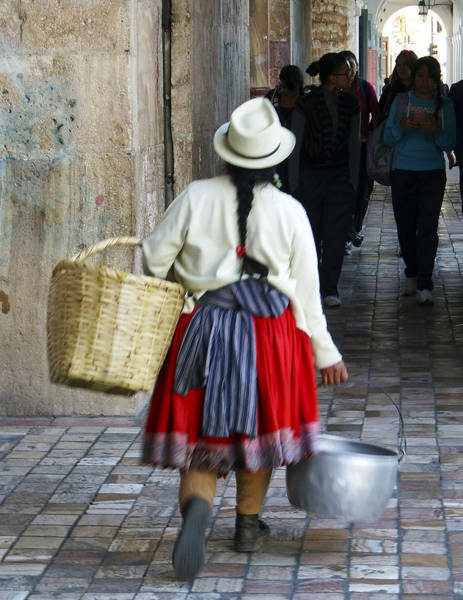 Photograph - Red Skirted Woman Of Cuenca by Kurt Van Wagner