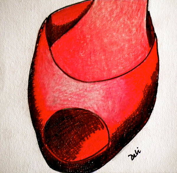 Line Drawing Painting - Red Shoe by Debi Starr