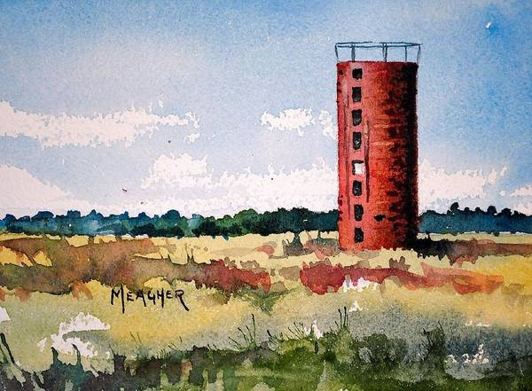 Silo Painting - Red Silo Alden Ks by Spencer Meagher
