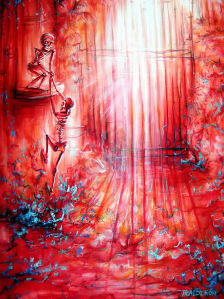 Romeo And Juliet Wall Art - Painting - Red Skeleton Gate by Heather Calderon
