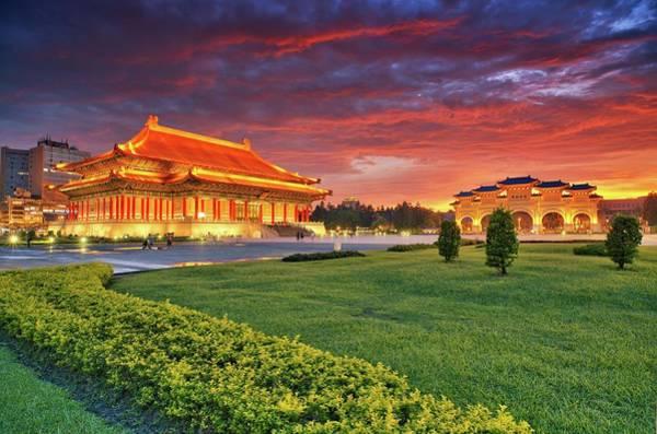 Concert Hall Photograph - Red Sky In C.k.s. Memorial Hall by Joyoyo Chen