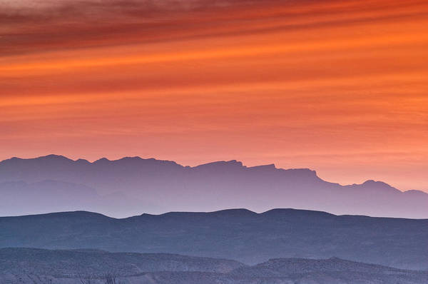 Chihuahua Photograph - Red Sky Over Sierra Del Carmen In by Witold Skrypczak