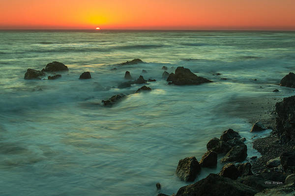 Photograph - Red Sky Over The Ocean..... San Simeon by Tim Bryan