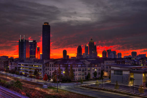 Georgia Power Company Photograph - Red Sky Sunrise Midtown Atlanta by Reid Callaway