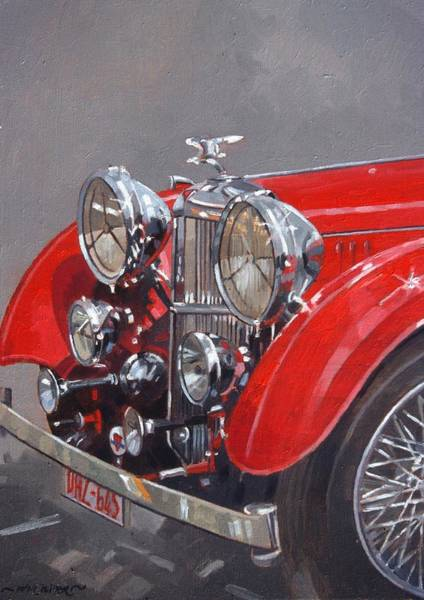 Fashion Plate Painting - Red Sp 25 Alvis  by Peter Miller