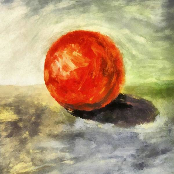 Wall Art - Painting - Red Sphere With Grey by Michelle Calkins