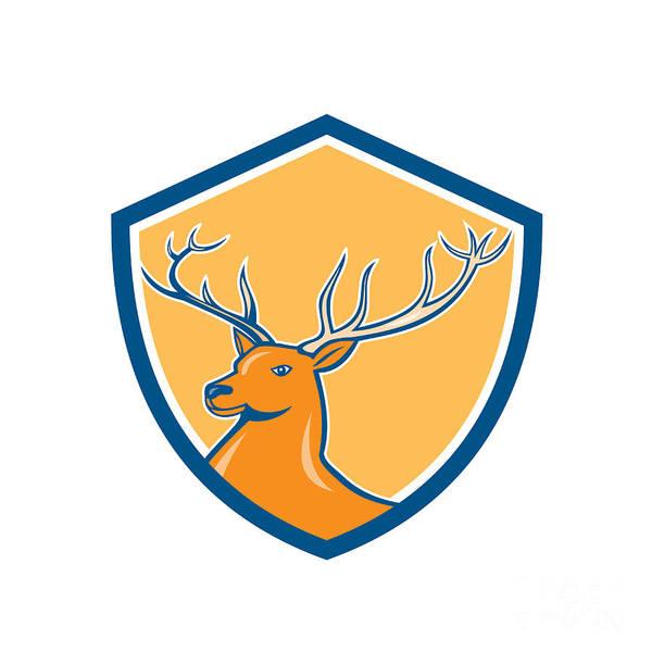 Deer Digital Art - Red Stag Deer Head Shield Cartoon by Aloysius Patrimonio