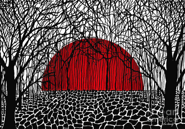 Drawing - Red Sun Rising by Lee Owenby