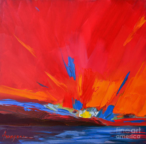 Painting - Red Sunset, Modern Abstract Art by Patricia Awapara