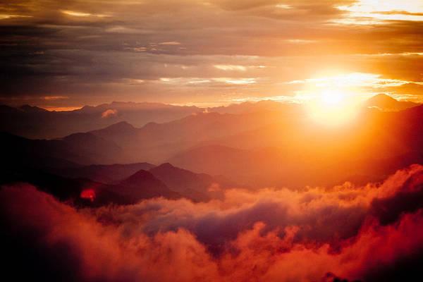 Wall Art - Photograph - Red Sunset Himalayas Mountain Nepal by Raimond Klavins