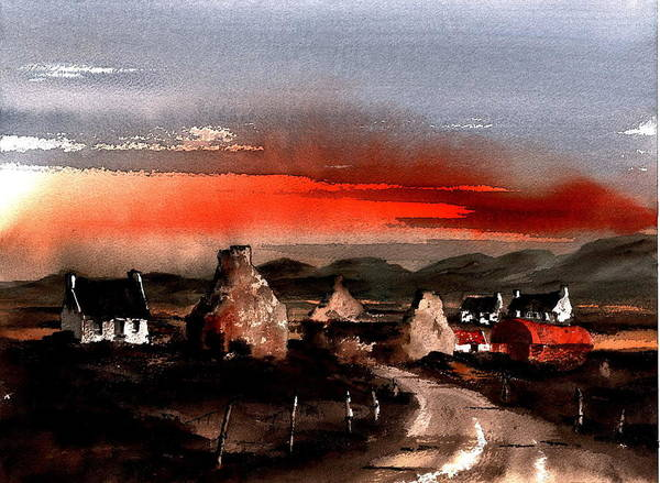 Mixed Media - Red Sunset In The West by Val Byrne