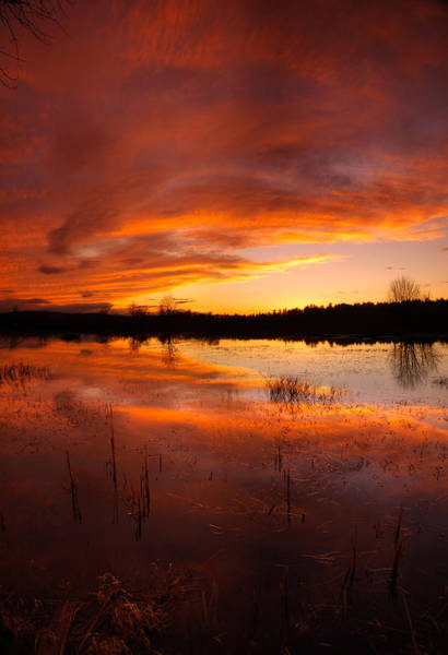 Photograph - Red Sunset Over Massabesic Lake by Sebastien Coursol