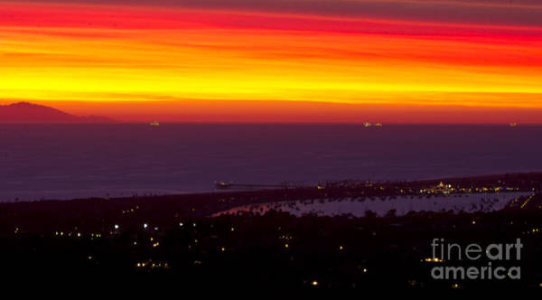 Roller Blades Photograph - Red Sunset Over Newport Beach by Harald Vaagan
