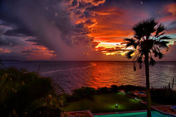 Puerto Plata Photograph - Red Sunset Over The Ocean by Dmitry Sergeev