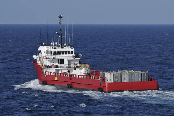 Photograph - Red Supply Vessel by Bradford Martin