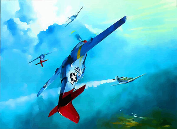 Junkers Digital Art - Red Tail - Courage Has No Color by Don Kuing