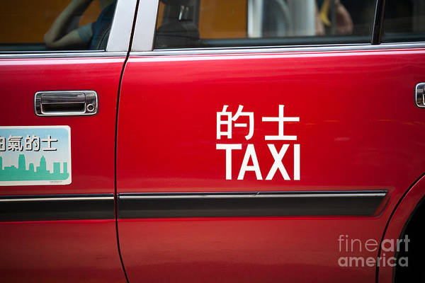 Wall Art - Photograph - Red Taxi - Hong Kong by Matteo Colombo
