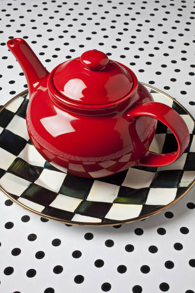 Teapot Wall Art - Photograph - Red Teapot On Checkerboard Plate by Garry Gay
