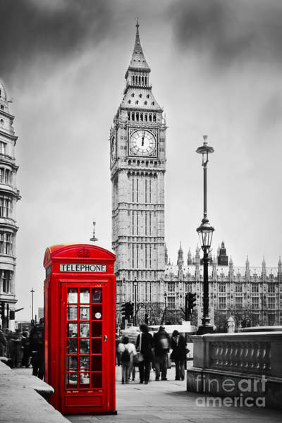 London Phone Booth Wall Art - Photograph - Red Telephone Booth And Big Ben In London by Michal Bednarek