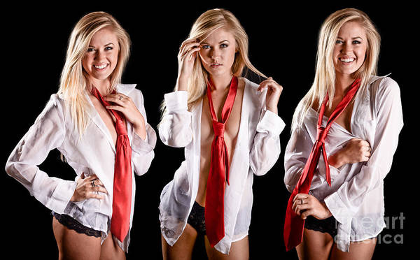 Perky Photograph - Red Tie Triplets by Jt PhotoDesign