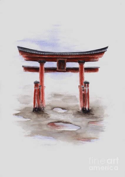 Wall Art - Painting - Red Torii Japanese Temple Gate. by Mariusz Szmerdt