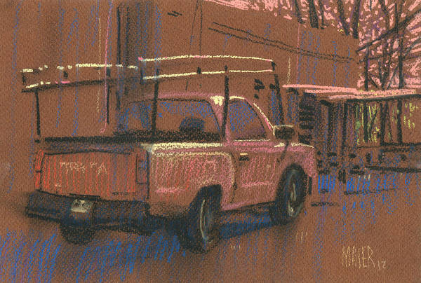 Truck Drawing - Red Toyota W/rack by Donald Maier
