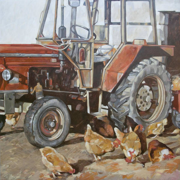 Vintage Tractor Painting - Red Tractor by Anke Classen